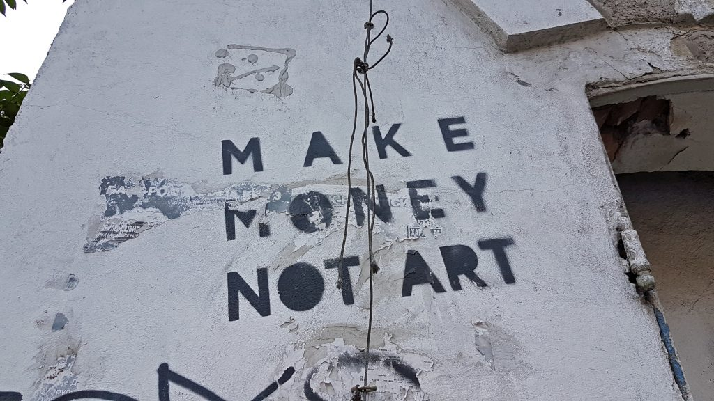 Streetart in Braće Krsmanović - Make money not art